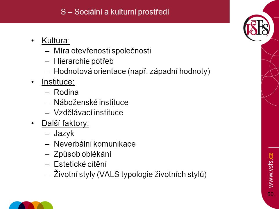 S – Sociální a kulturní prostředí