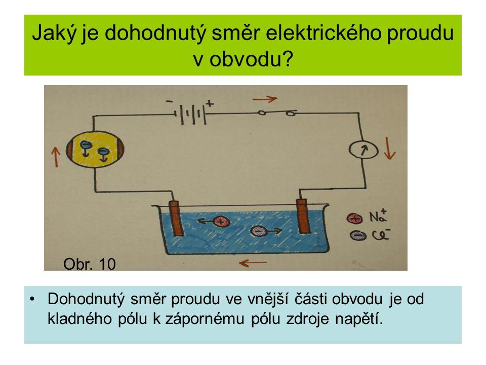Jaký je dohodnutý směr elektrického proudu v obvodu