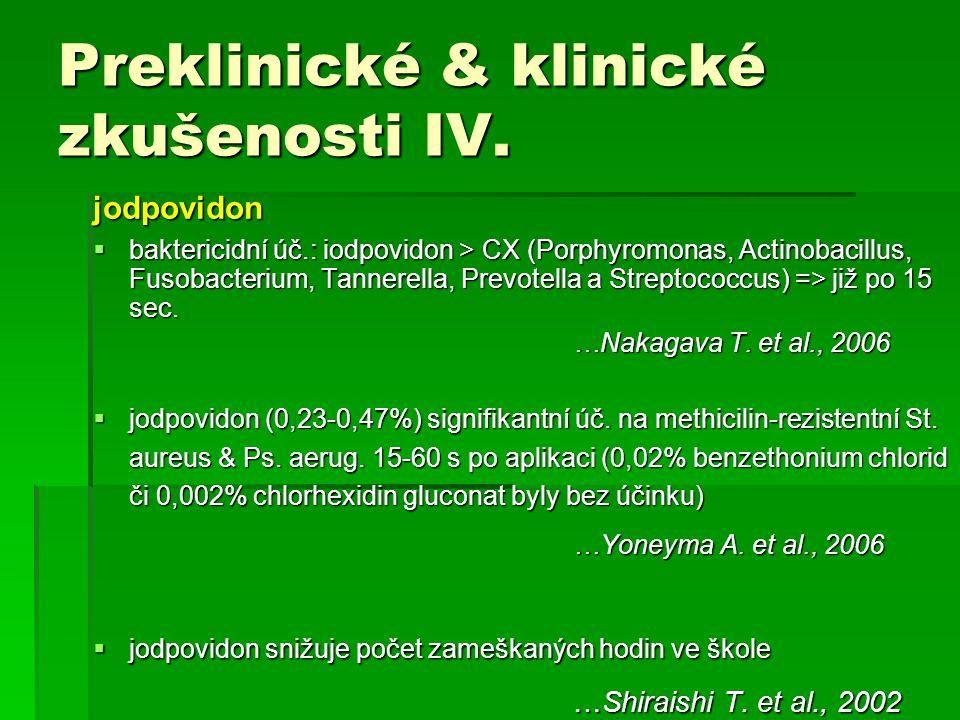 Preklinické & klinické zkušenosti IV.