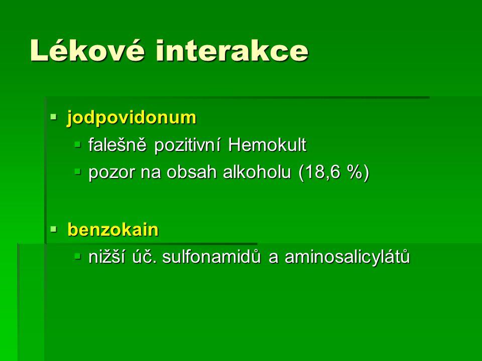 Lékové interakce jodpovidonum falešně pozitivní Hemokult
