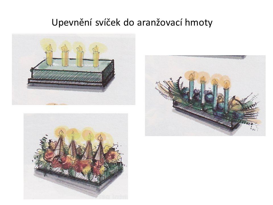 Upevnění svíček do aranžovací hmoty