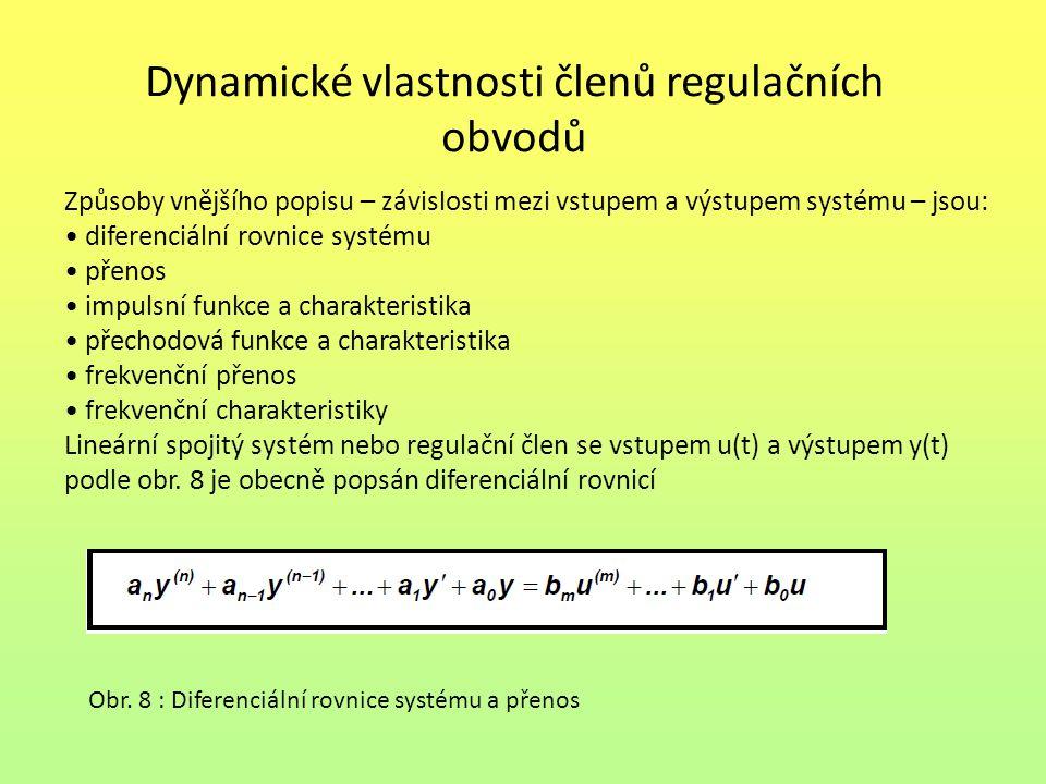 Dynamické vlastnosti členů regulačních obvodů