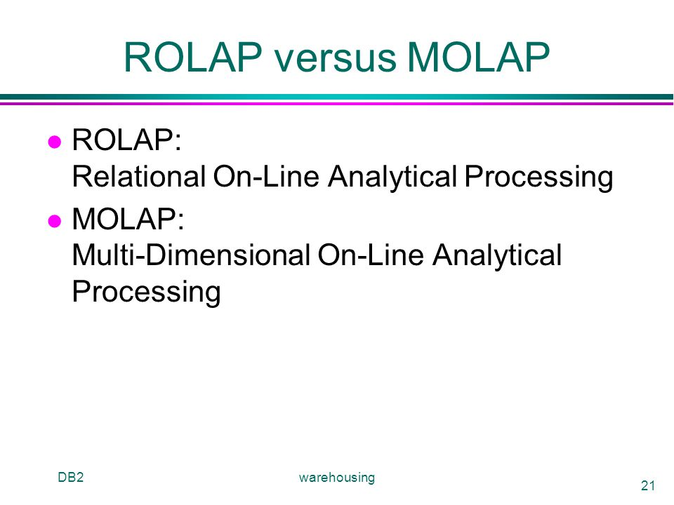 ROLAP versus MOLAP ROLAP: Relational On-Line Analytical Processing