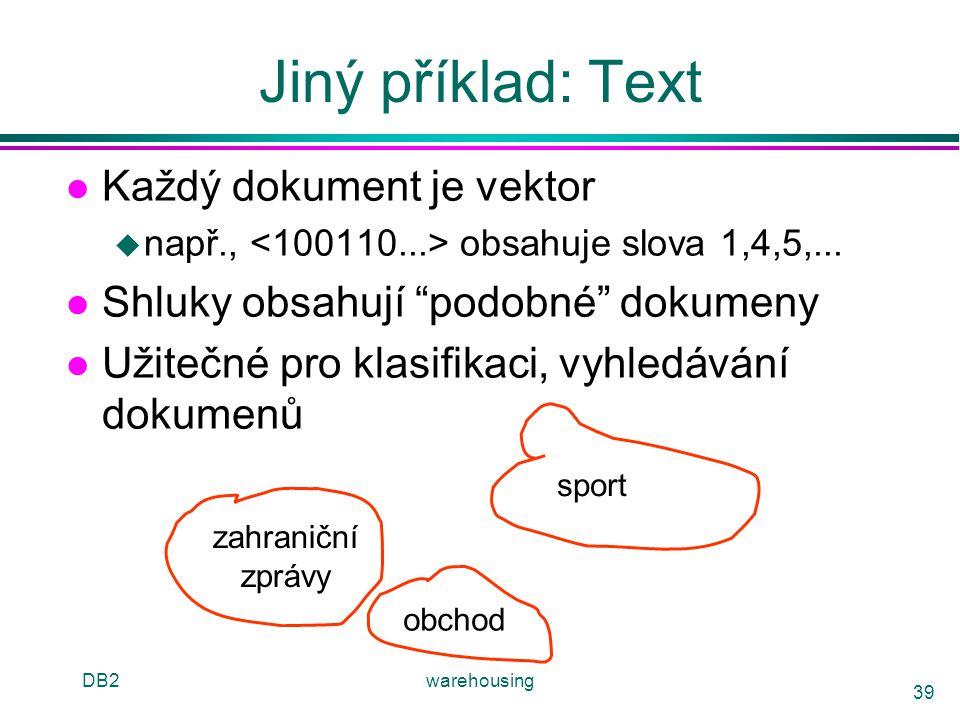 Jiný příklad: Text Každý dokument je vektor