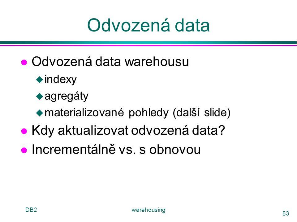Odvozená data Odvozená data warehousu Kdy aktualizovat odvozená data