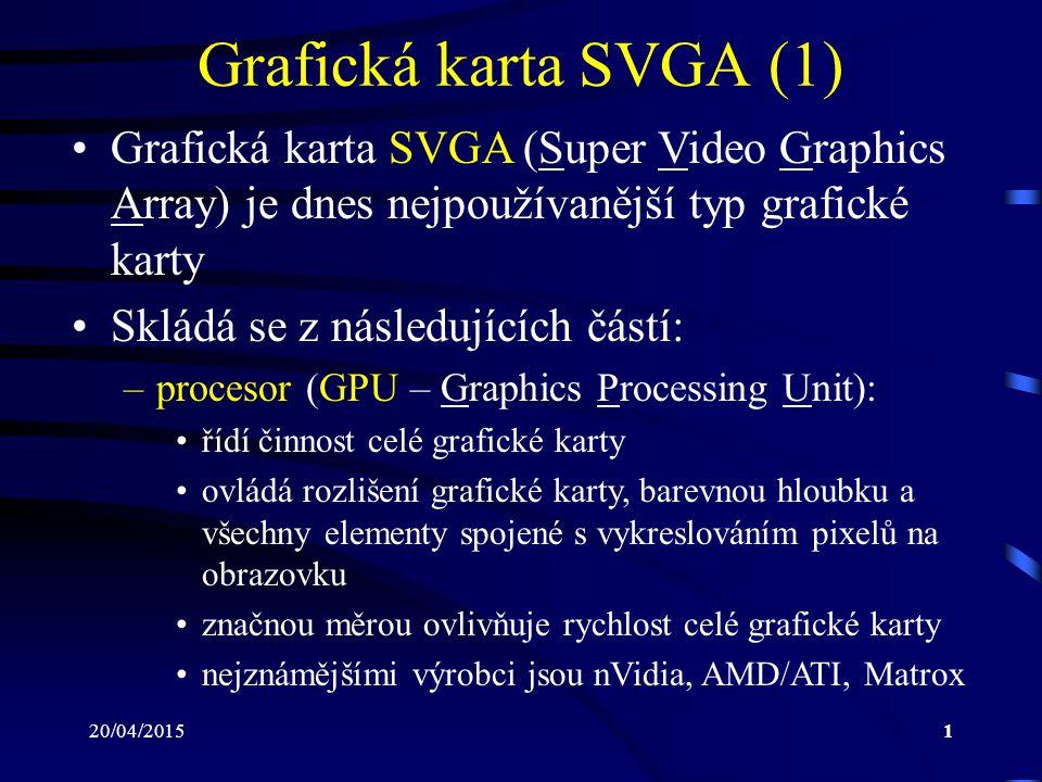 Grafická karta SVGA (1) Grafická karta SVGA (Super Video Graphics Array) je dnes nejpoužívanější typ grafické karty.