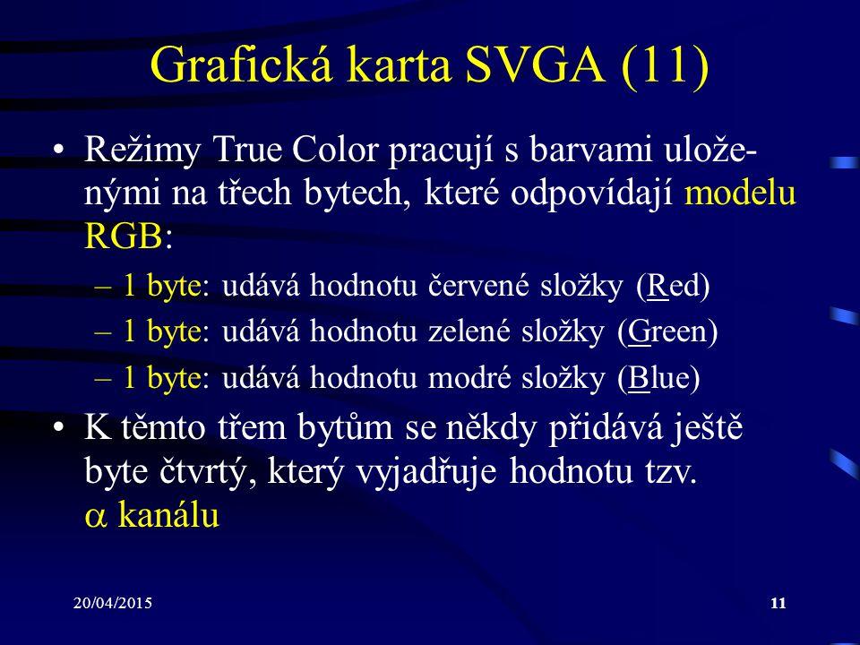 Grafická karta SVGA (11) Režimy True Color pracují s barvami ulože-nými na třech bytech, které odpovídají modelu RGB: