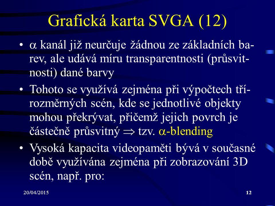 Grafická karta SVGA (12)  kanál již neurčuje žádnou ze základních ba-rev, ale udává míru transparentnosti (průsvit-nosti) dané barvy.