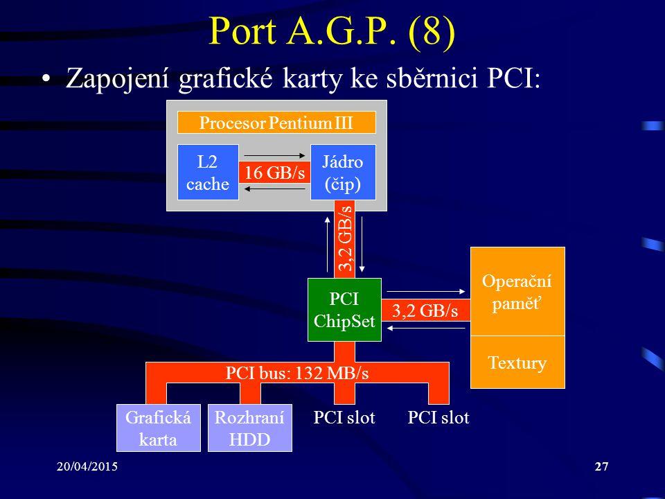 Port A.G.P. (8) Zapojení grafické karty ke sběrnici PCI:
