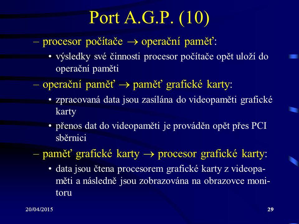 Port A.G.P. (10) procesor počítače  operační paměť: