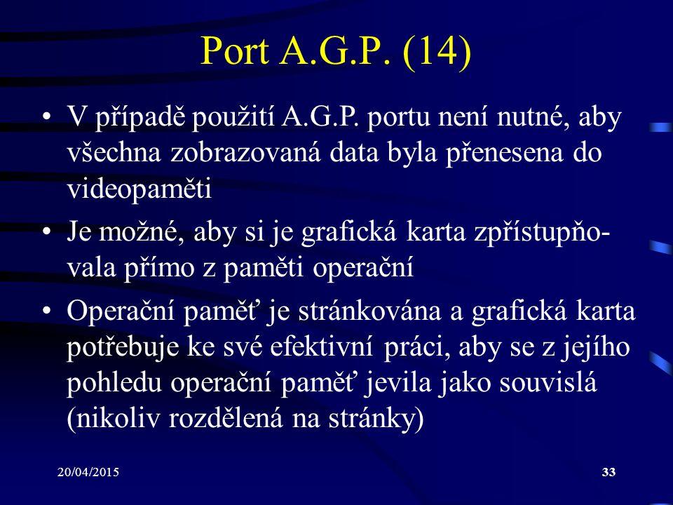 Port A.G.P. (14) V případě použití A.G.P. portu není nutné, aby všechna zobrazovaná data byla přenesena do videopaměti.