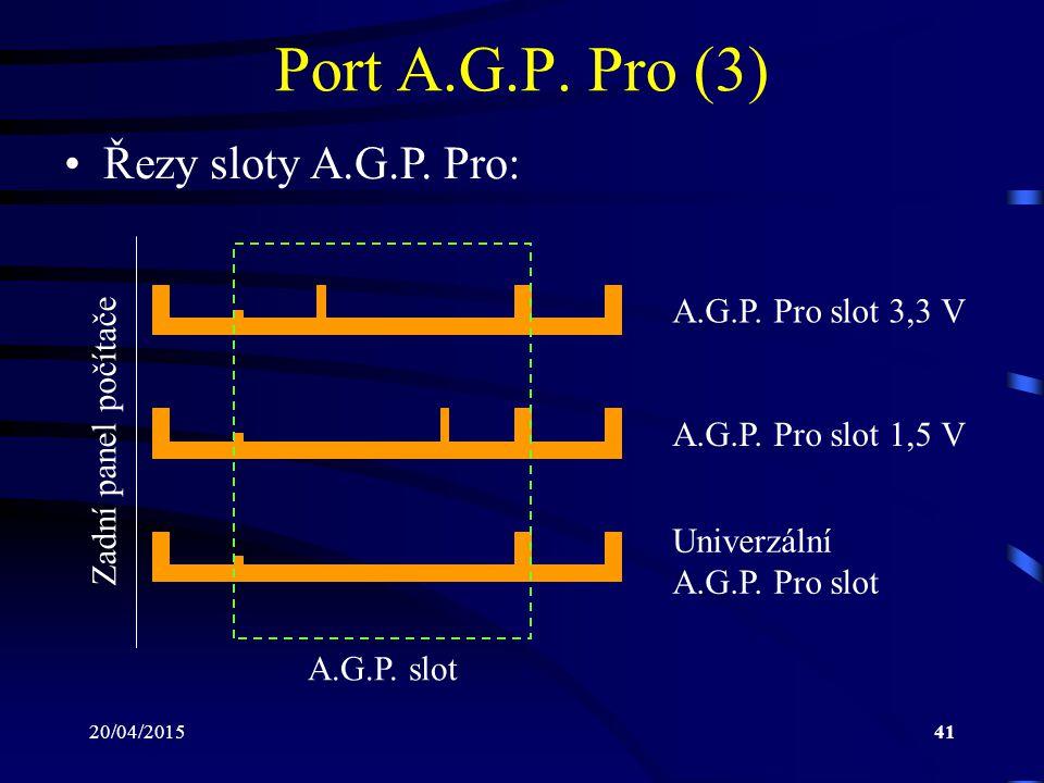 Port A.G.P. Pro (3) Řezy sloty A.G.P. Pro: A.G.P. Pro slot 3,3 V