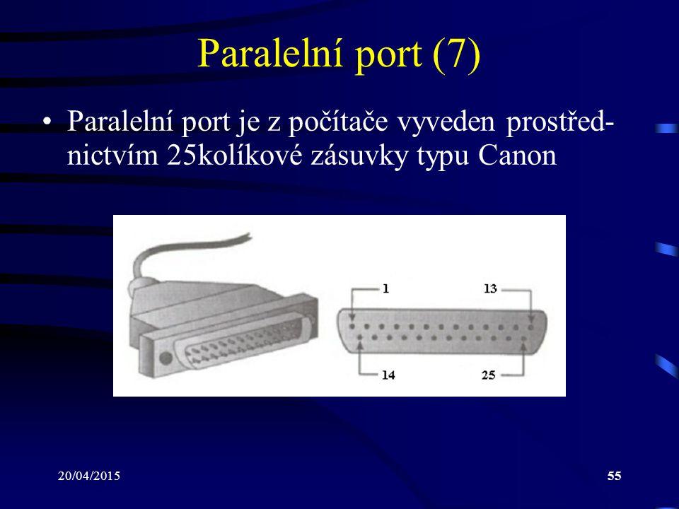 Paralelní port (7) Paralelní port je z počítače vyveden prostřed-nictvím 25kolíkové zásuvky typu Canon.