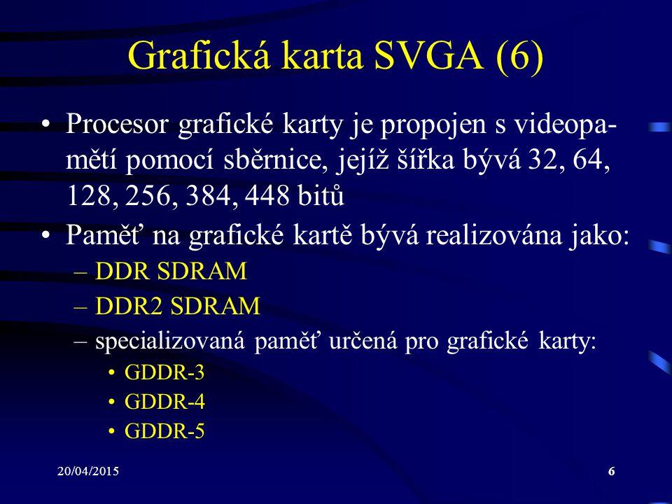 Grafická karta SVGA (6) Procesor grafické karty je propojen s videopa-mětí pomocí sběrnice, jejíž šířka bývá 32, 64, 128, 256, 384, 448 bitů.