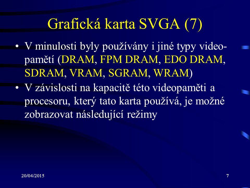 Grafická karta SVGA (7) V minulosti byly používány i jiné typy video-pamětí (DRAM, FPM DRAM, EDO DRAM, SDRAM, VRAM, SGRAM, WRAM)
