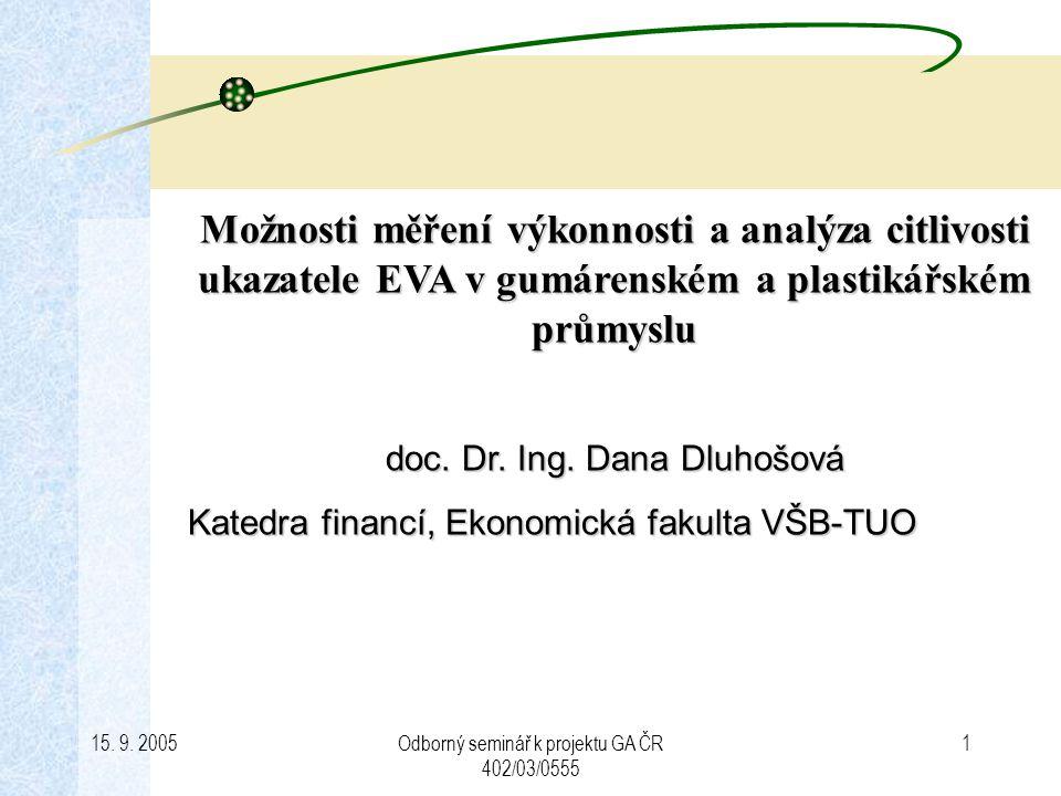 Možnosti měření výkonnosti a analýza citlivosti ukazatele EVA v gumárenském a plastikářském průmyslu
