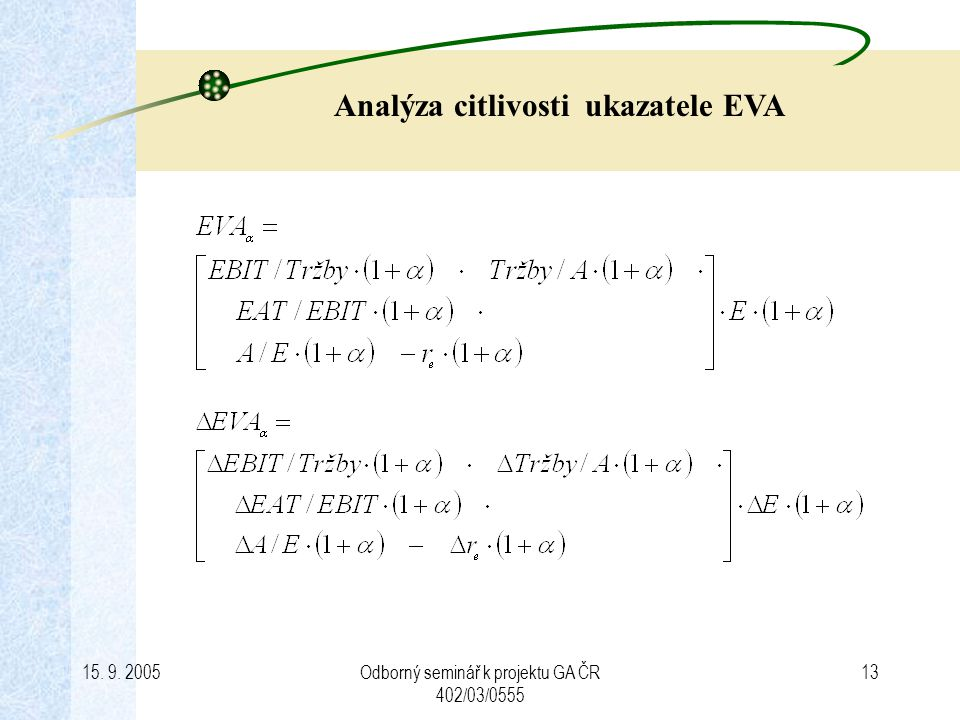 Analýza citlivosti ukazatele EVA