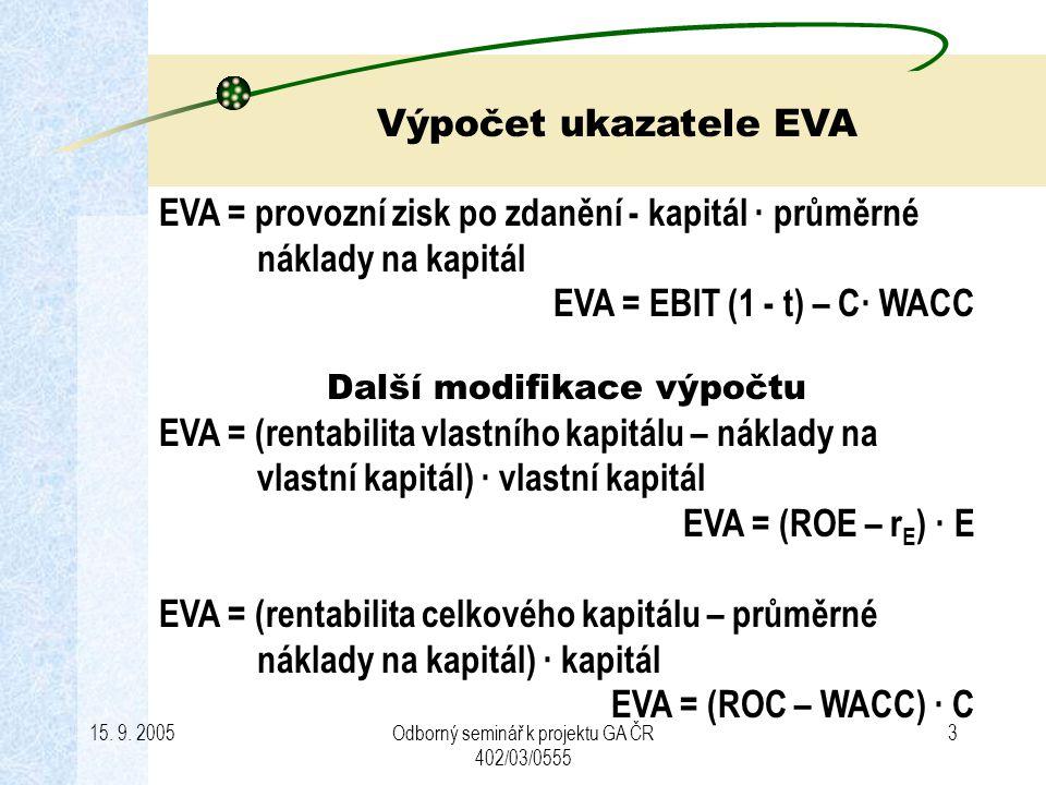 EVA = provozní zisk po zdanění - kapitál · průměrné náklady na kapitál