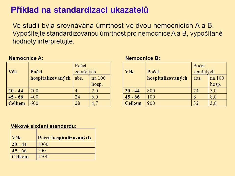 Příklad na standardizaci ukazatelů