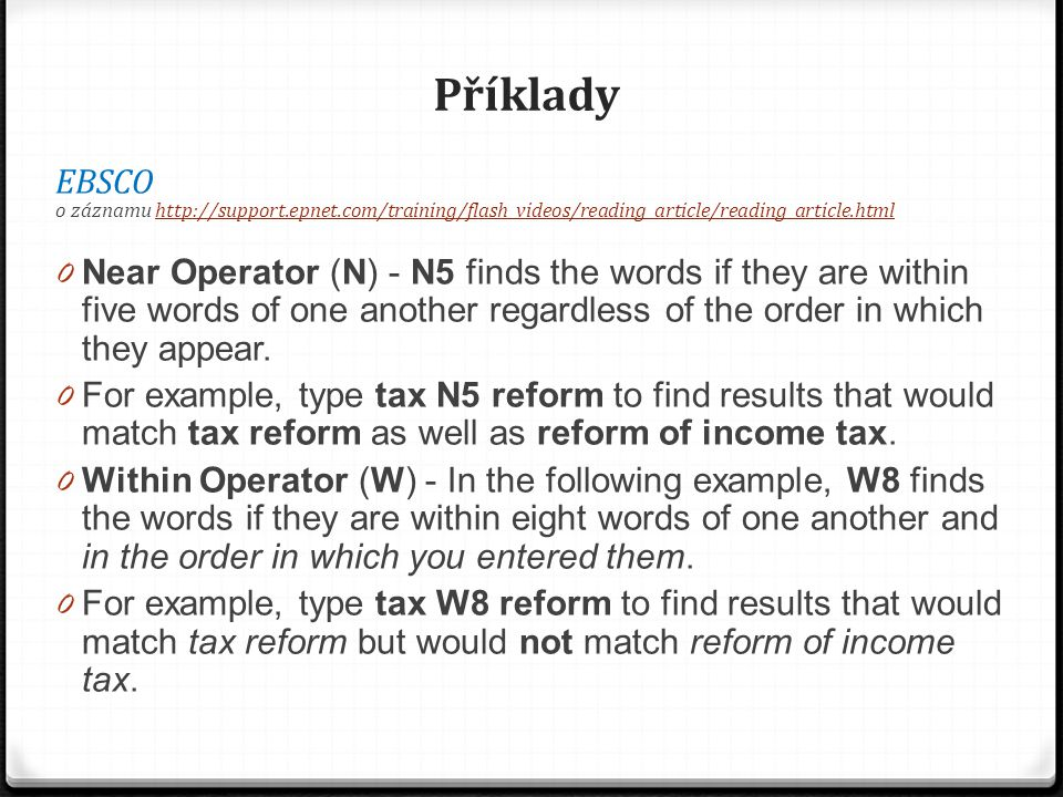 Příklady EBSCO. o záznamu http://support.epnet.com/training/flash_videos/reading_article/reading_article.html.