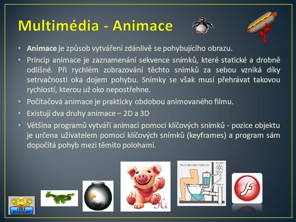 Multimédia - Animace Animace je způsob vytváření zdánlivě se pohybujícího obrazu.