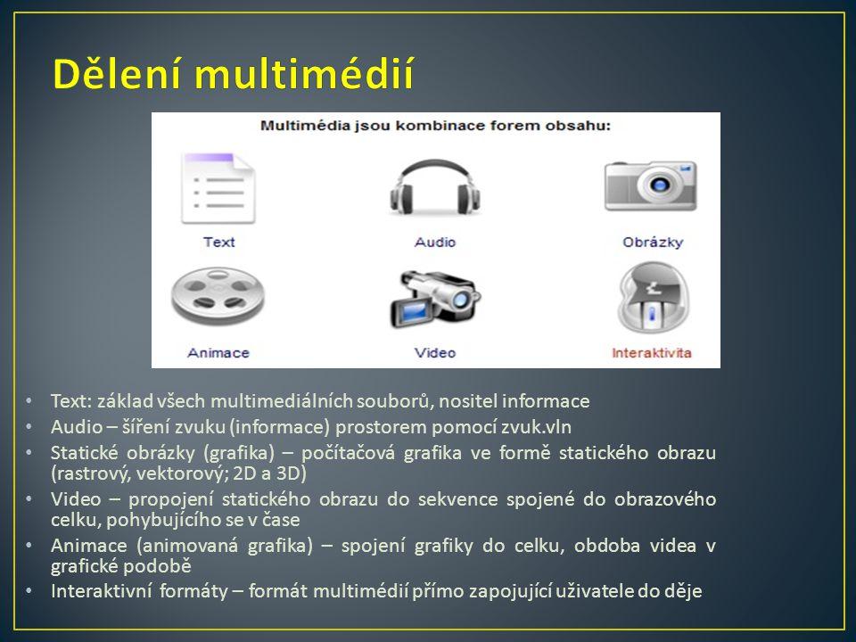 Dělení multimédií Text: základ všech multimediálních souborů, nositel informace. Audio – šíření zvuku (informace) prostorem pomocí zvuk.vln.