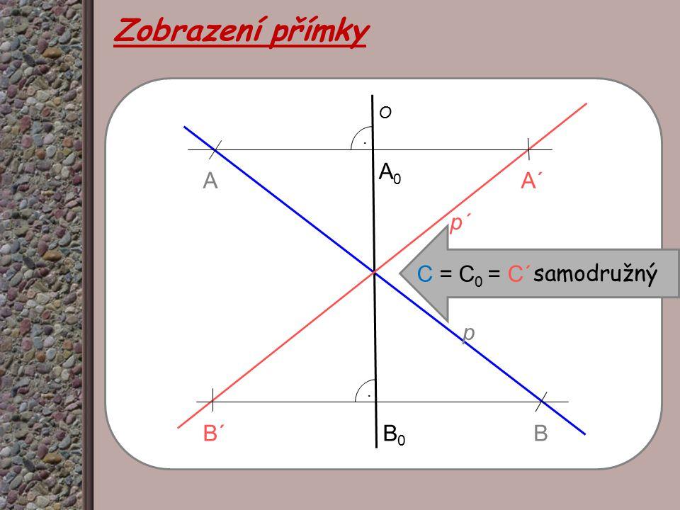 Zobrazení přímky O . A0 A A΄ p΄ C = C0 = C΄ samodružný p . B΄ B0 B