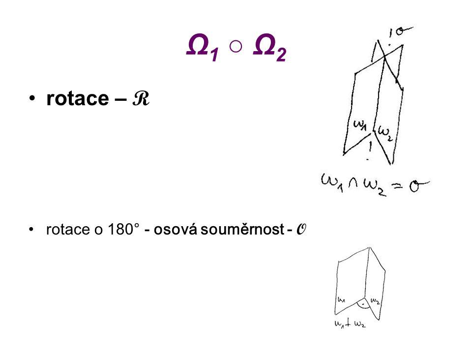 Ω1 ○ Ω2 rotace – R rotace o 180° - osová souměrnost - O