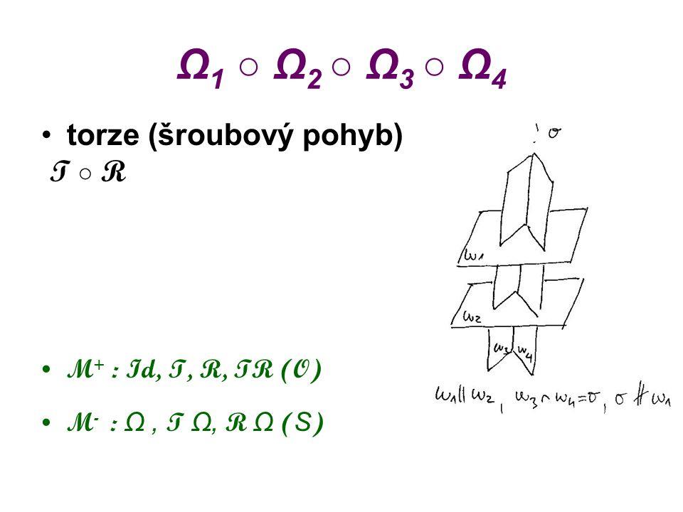 Ω1 ○ Ω2 ○ Ω3 ○ Ω4 torze (šroubový pohyb) T ○ R M+ : Id, T, R, TR (O)