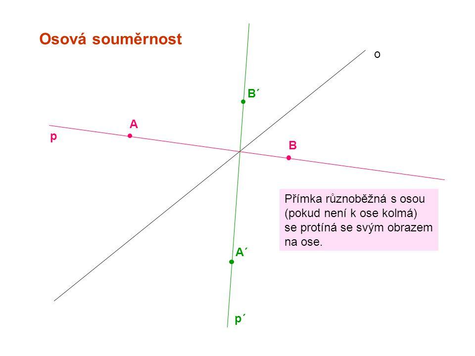 Osová souměrnost o B´ A p B Přímka různoběžná s osou