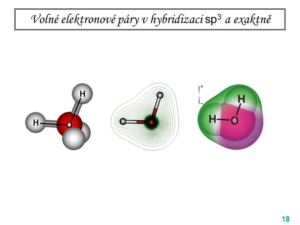 Volné elektronové páry v hybridizaci sp3 a exaktně