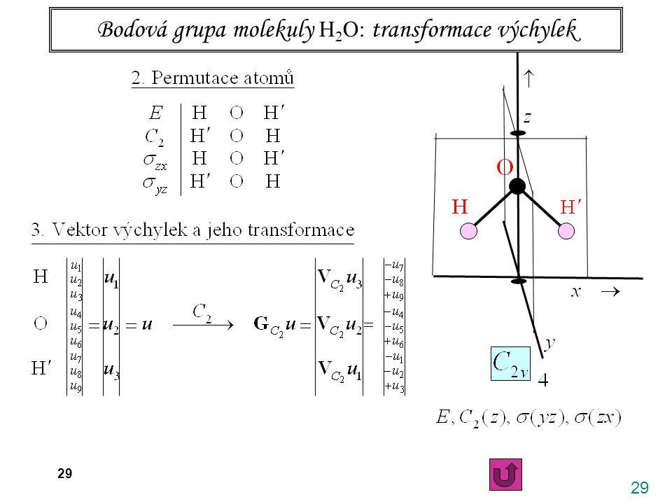 Bodová grupa molekuly H2O: transformace výchylek
