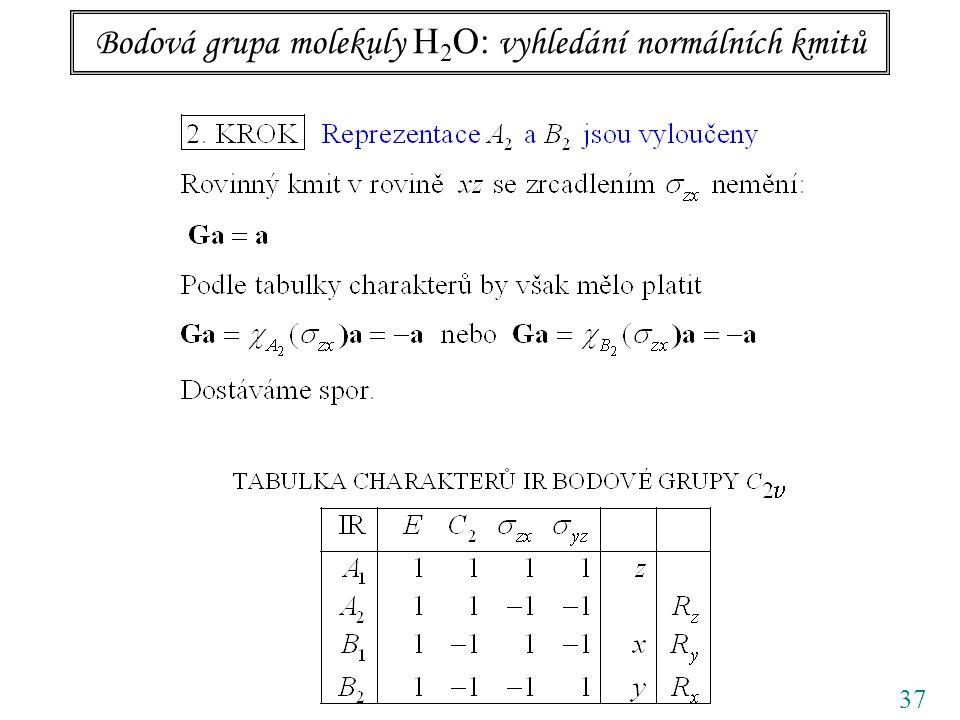 Bodová grupa molekuly H2O: vyhledání normálních kmitů