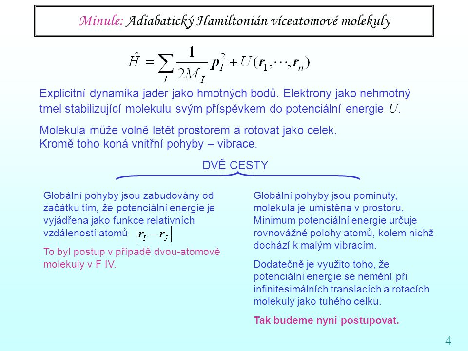 Minule: Adiabatický Hamiltonián víceatomové molekuly