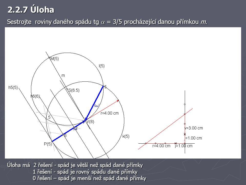 2.2.7 Úloha Sestrojte roviny daného spádu tg  = 3/5 procházející danou přímkou m.