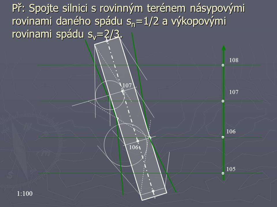 Př: Spojte silnici s rovinným terénem násypovými rovinami daného spádu sn=1/2 a výkopovými rovinami spádu sv=2/3.