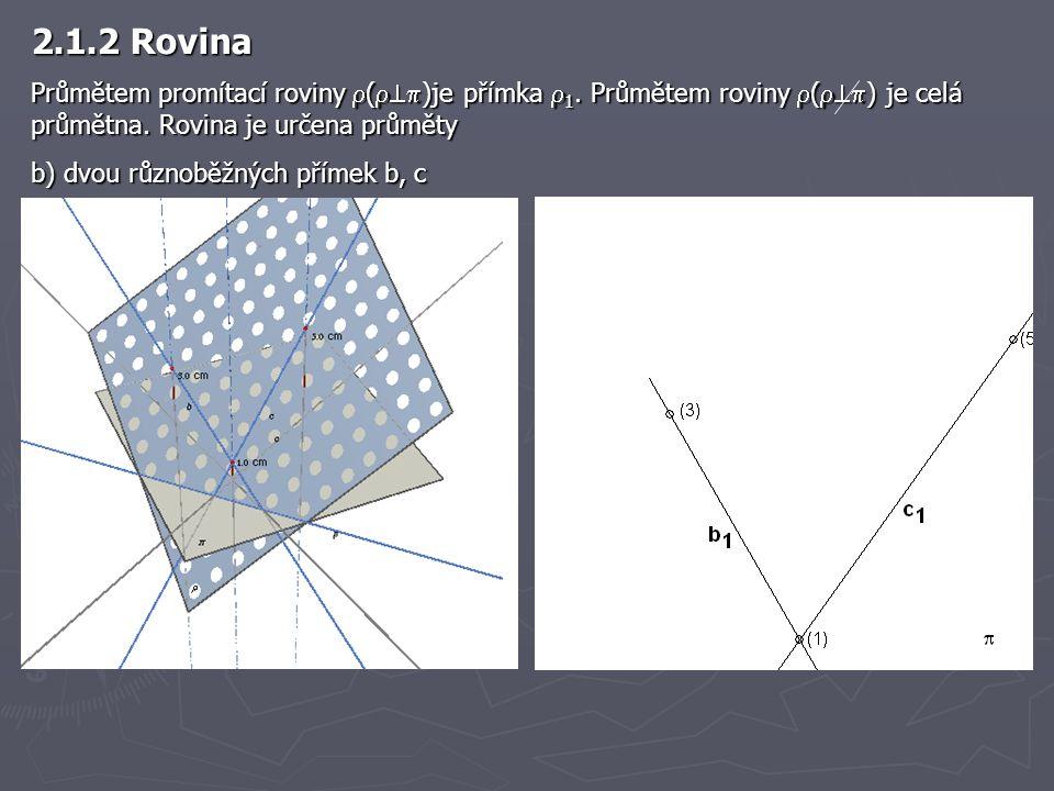 2.1.2 Rovina Průmětem promítací roviny ()je přímka 1. Průmětem roviny () je celá průmětna. Rovina je určena průměty.
