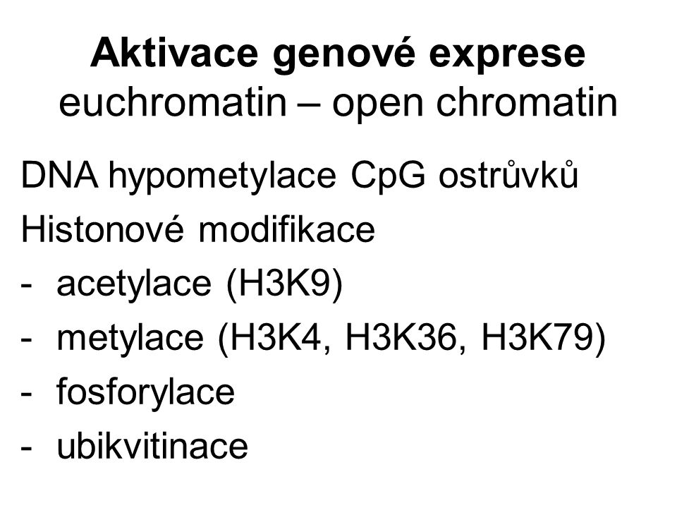 Aktivace genové exprese euchromatin – open chromatin