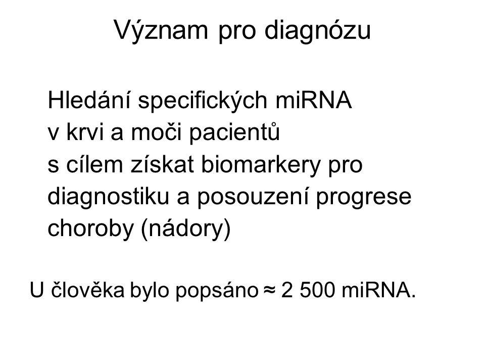 Význam pro diagnózu Hledání specifických miRNA v krvi a moči pacientů