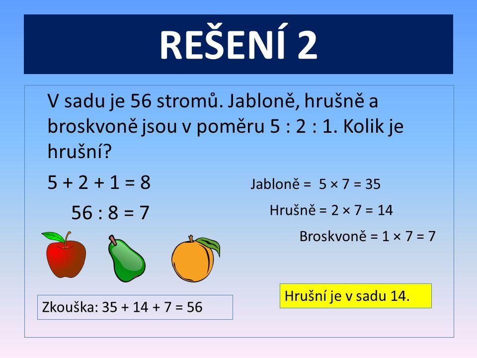 REŠENÍ 2 V sadu je 56 stromů. Jabloně, hrušně a broskvoně jsou v poměru 5 : 2 : 1. Kolik je hrušní 5 + 2 + 1 = 8 56 : 8 = 7