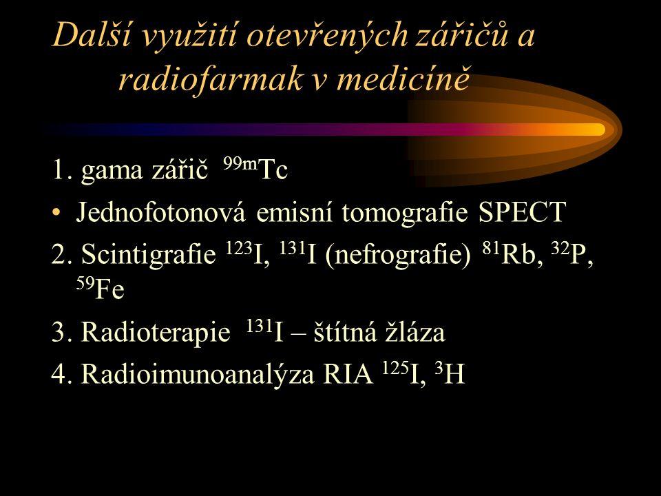 Další využití otevřených zářičů a radiofarmak v medicíně