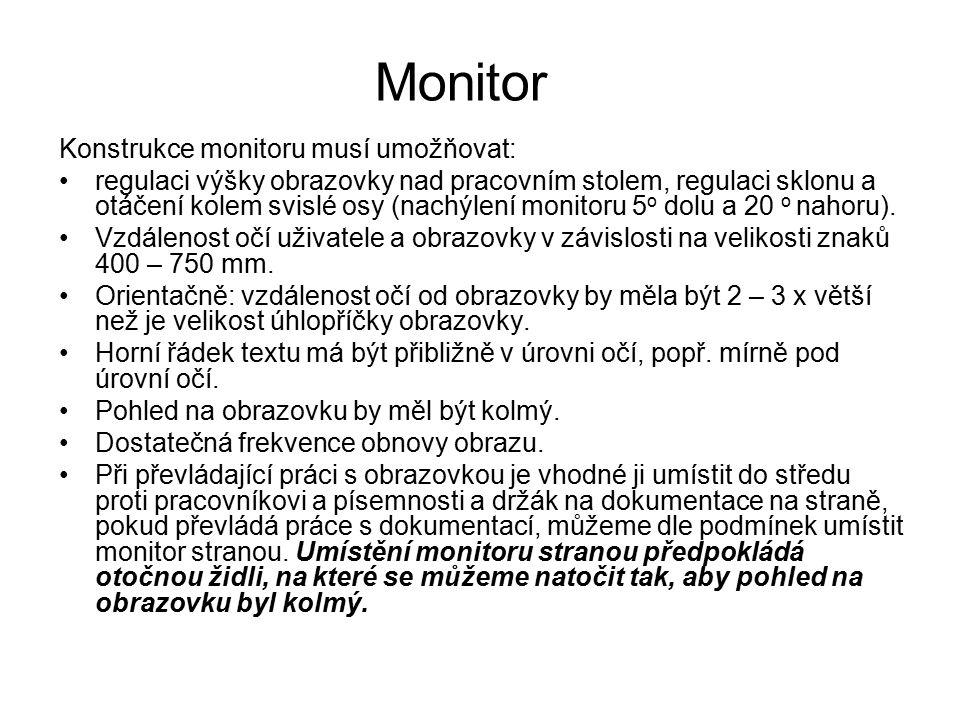 Monitor Konstrukce monitoru musí umožňovat: