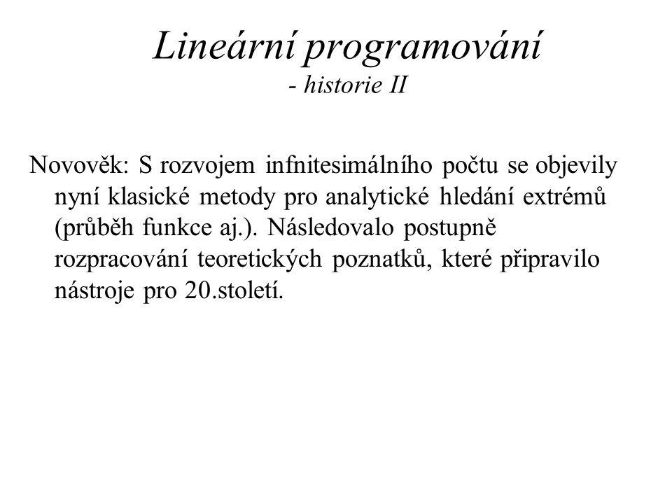 Lineární programování - historie II