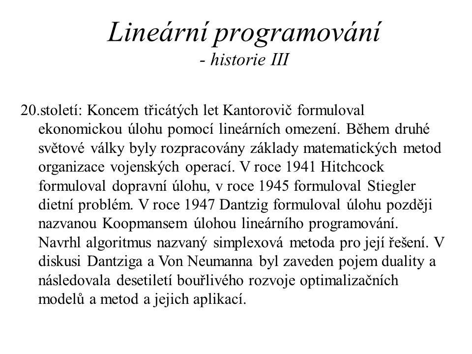 Lineární programování - historie III