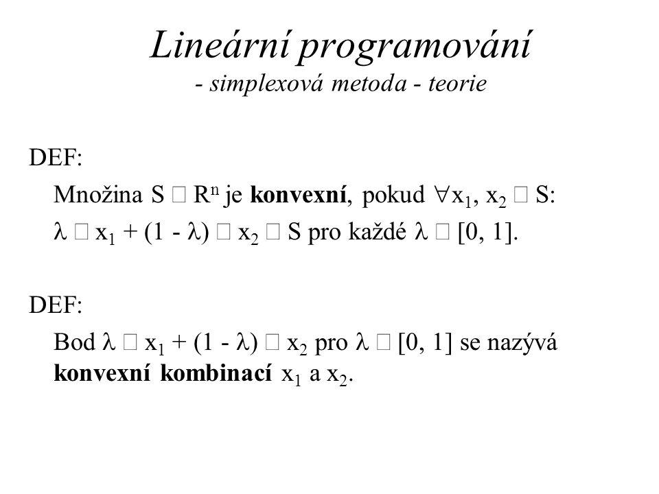 Lineární programování - simplexová metoda - teorie