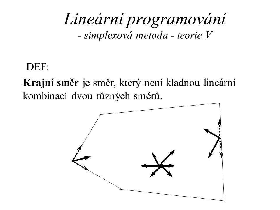 Lineární programování - simplexová metoda - teorie V