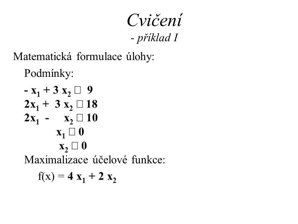 Cvičení - příklad I Matematická formulace úlohy: Podmínky: