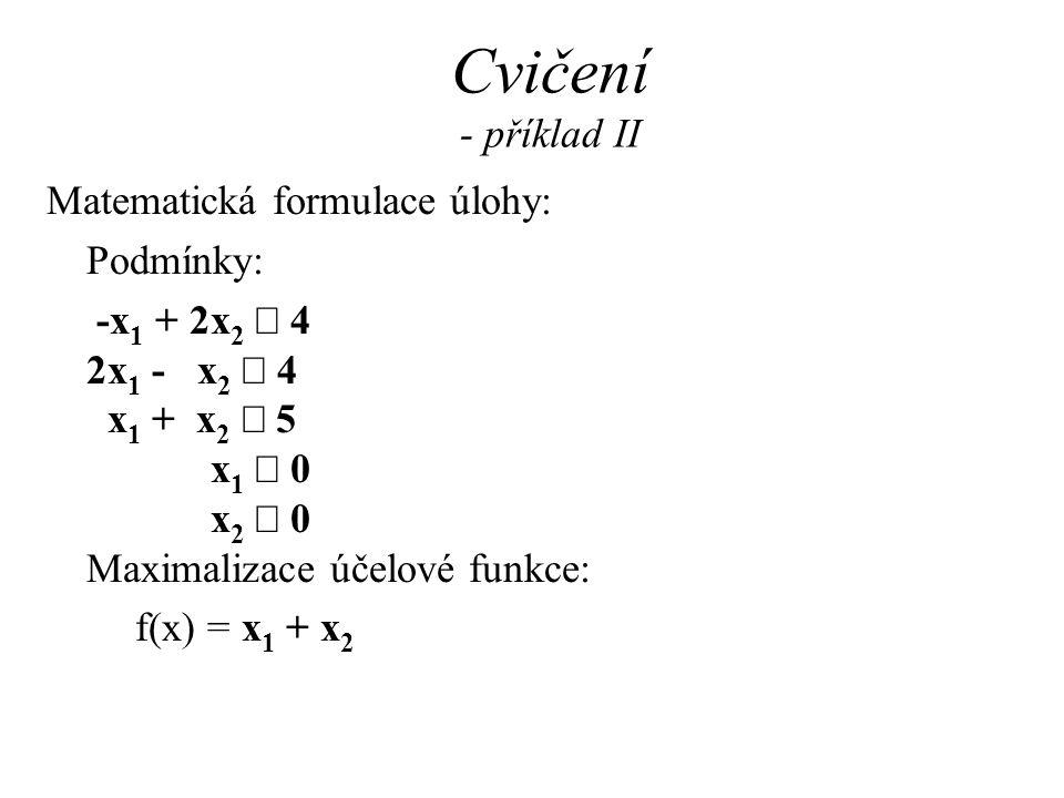 Cvičení - příklad II Matematická formulace úlohy: Podmínky: