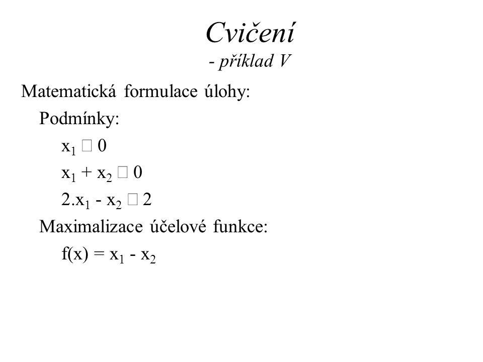 Cvičení - příklad V Matematická formulace úlohy: Podmínky: x1 ³ 0