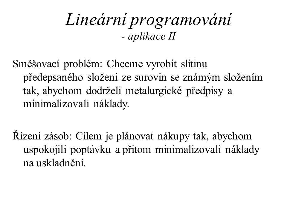 Lineární programování - aplikace II